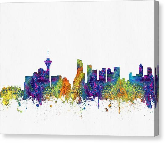 Vancouver Skyline Canvas Print - Vancouver British Columbia Skyline Color03 by Aged Pixel