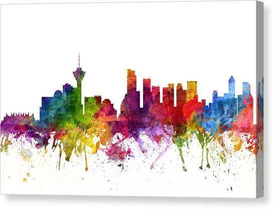 Vancouver Skyline Canvas Print - Vancouver Canada Cityscape 06 by Aged Pixel