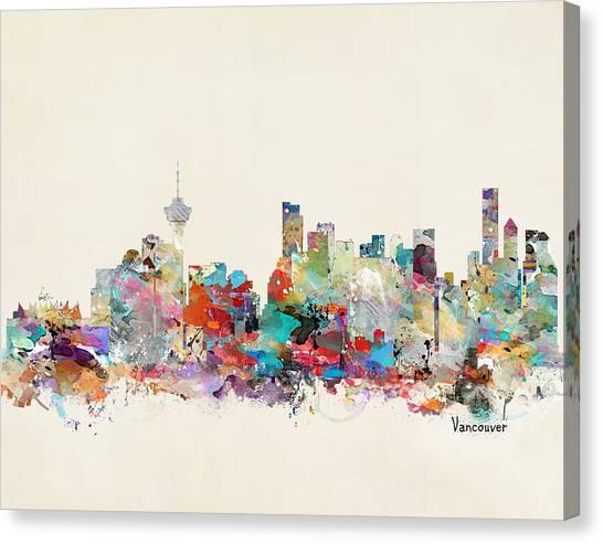 Vancouver Skyline Canvas Print - Vancouver Canada Skyline by Bleu Bri