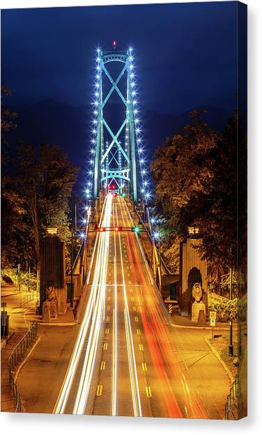 Canvas Print featuring the photograph Vancouver Lions Gate Bridge At Night by Pierre Leclerc Photography