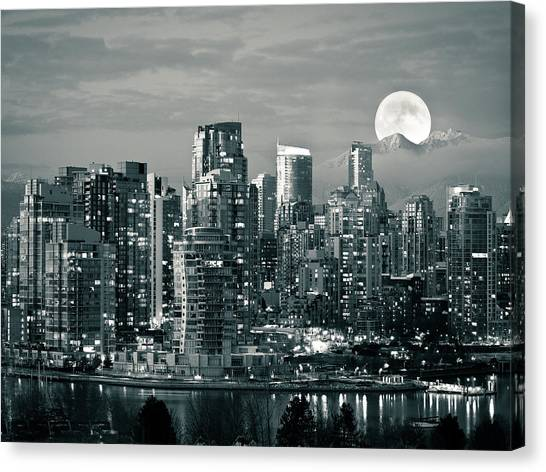 Vancouver Skyline Canvas Print - Vancouver Moonrise by Lloyd K. Barnes Photography