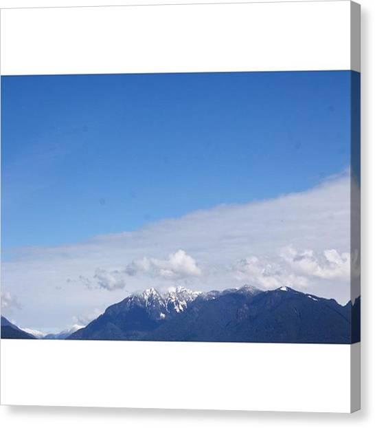 Vancouver Skyline Canvas Print - #vancouver #mountains #blue  #snow by Amirreza Ahmadivafa