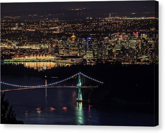 Vancouver Night From Cypress Mountain Canvas Print