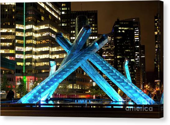 Vancouver Olympic Cauldron At Night Canvas Print