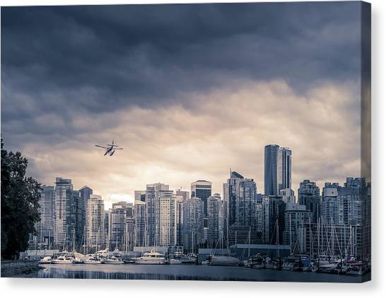 City Sunsets Canvas Print - Vancouver Skyline by Art Spectrum