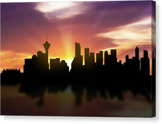 Vancouver Skyline Canvas Print - Vancouver Skyline Sunset Cabcva22 by Aged Pixel