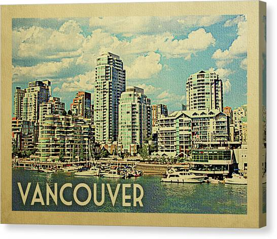 Vancouver Travel Poster Canvas Print by Flo Karp
