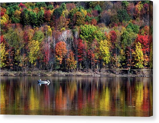 Vanishing Autumn Reflection Landscape Canvas Print