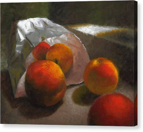 Locally Grown Canvas Print - Vanzant Peaches by Timothy Jones
