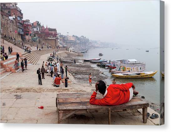 Varanasi Ghat View, Varanasi, India Canvas Print