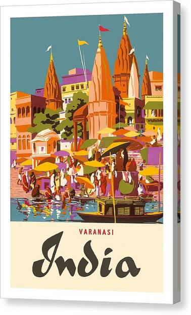 Ganges Canvas Print - Varanasi India Vintage World Travel Poster By Charles Baskerville by Retro Graphics