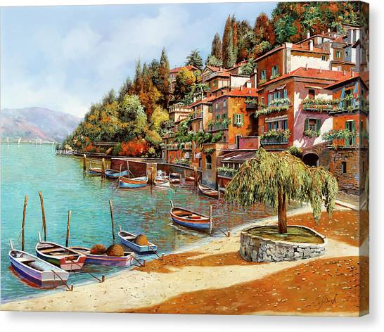 Dock Canvas Print - Varenna On Lake Como by Guido Borelli