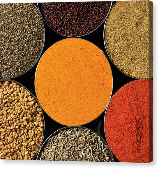Mustard Canvas Print - Various Kind Of Spices by PKG Photography