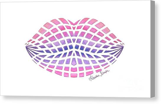 Vasarely Style Lips Canvas Print