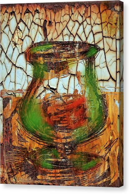 Vase And Candle Canvas Print by Russell Pierce