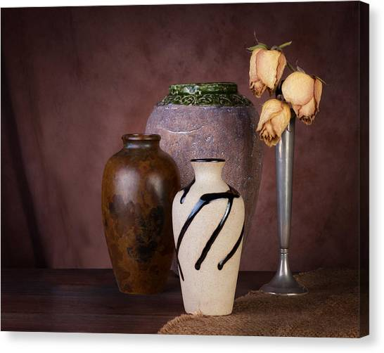 Composition Canvas Print - Vase And Roses Still Life by Tom Mc Nemar