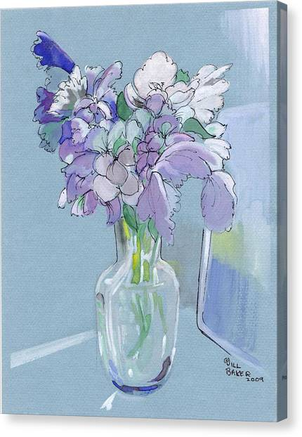 Vase Of Flowers In The Sun Canvas Print by Jill Baker