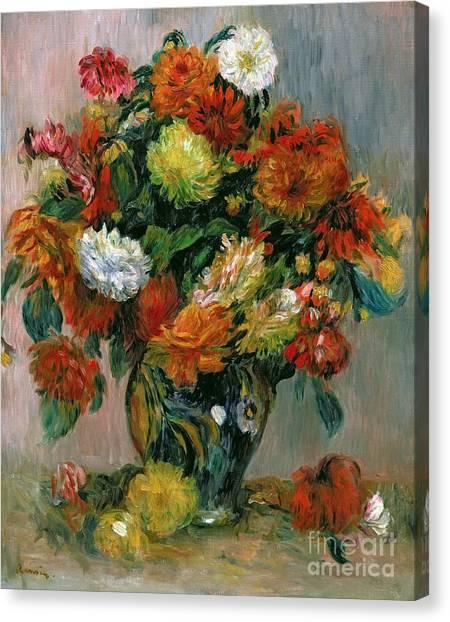 Rose In Bloom Canvas Print - Vase Of Flowers by Pierre Auguste Renoir
