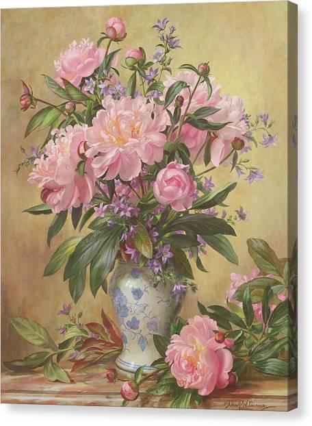 In Bloom Canvas Print - Vase Of Peonies And Canterbury Bells by Albert Williams