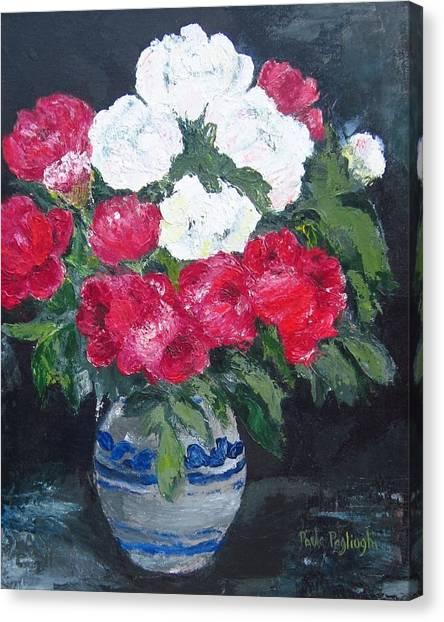 Vase Of Peonies Canvas Print