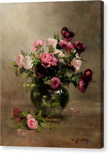 Rose In Bloom Canvas Print - Vase Of Roses by Eva Gonzales
