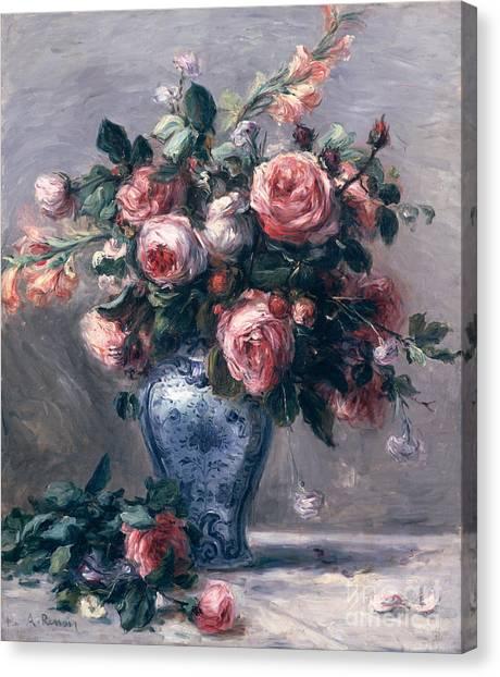 Pierre-auguste Renoir Canvas Print - Vase Of Roses by Pierre Auguste Renoir