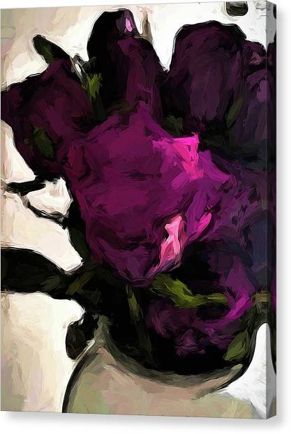 Vase Of Roses With Shadows 1 Canvas Print