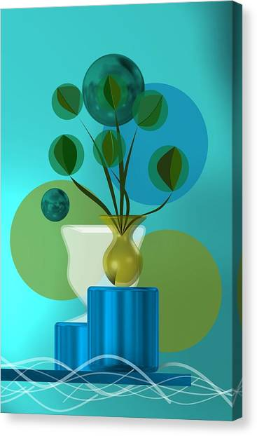 Vase With Bouquet Over Blue Canvas Print