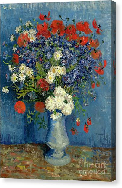 In Bloom Canvas Print - Vase With Cornflowers And Poppies by Vincent Van Gogh