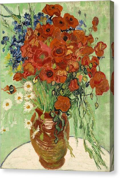 Canvas Print featuring the painting Vase With Daisies And Poppies by Van Gogh
