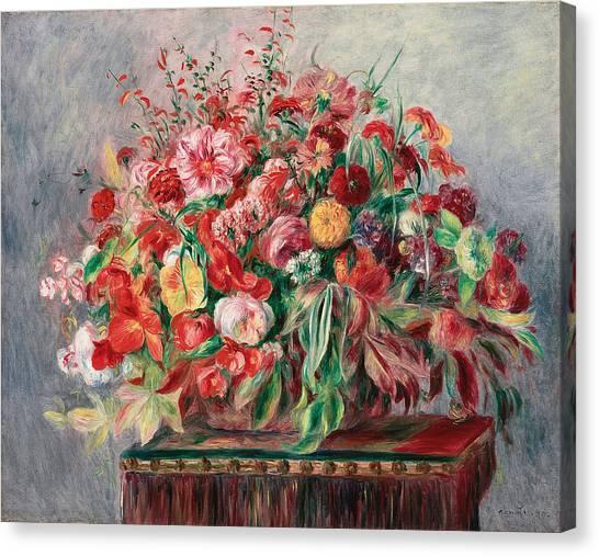 Pierre-auguste Renoir Canvas Print - Vase With Flowers by Pierre Auguste Renoir