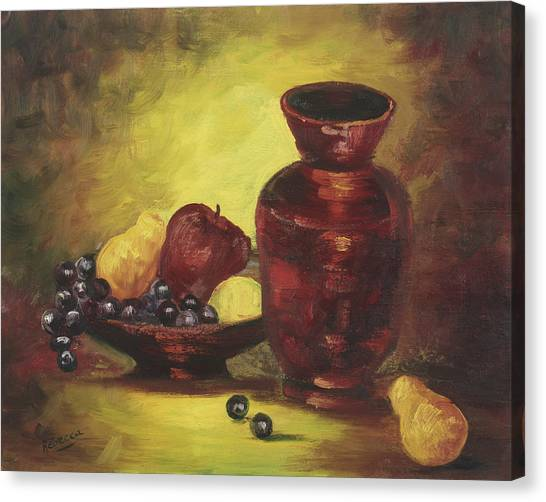 Vase With Fruit Bowl Canvas Print by Cathy Robertson