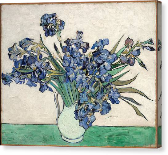 Canvas Print featuring the painting Vase With Irises by Van Gogh