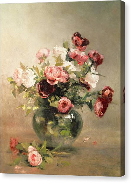 Rose In Bloom Canvas Print - Vase With Roses by Eva Gonzales
