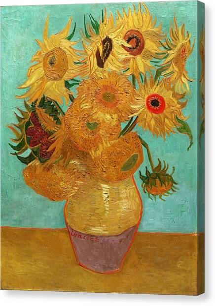 Canvas Print featuring the painting Vase With Twelve Sunflowers by Van Gogh