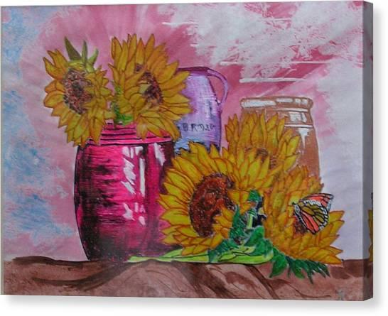Vases With Flowers Canvas Print by John Vandebrooke