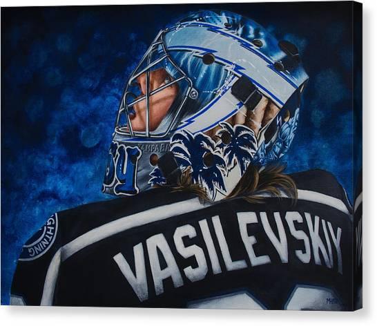 Tampa Bay Lightning Canvas Print - Vasilevskiy by Marlon Huynh