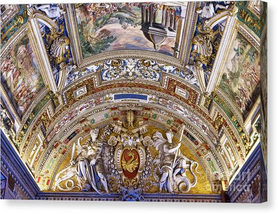 The Vatican Museum Canvas Print - Vatican Ceiling Fresco by John Greim