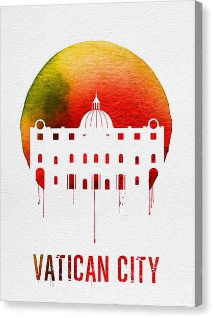 Roman Art Canvas Print - Vatican City Landmark Red by Naxart Studio