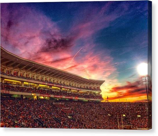 University Of Mississippi Ole Miss Canvas Print - Vaught-hemingway Sunset  by Matt Taylor