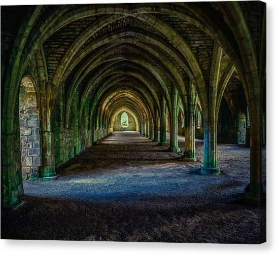 Vaulted, Fountains Abbey, Yorkshire, United Kingdom Canvas Print