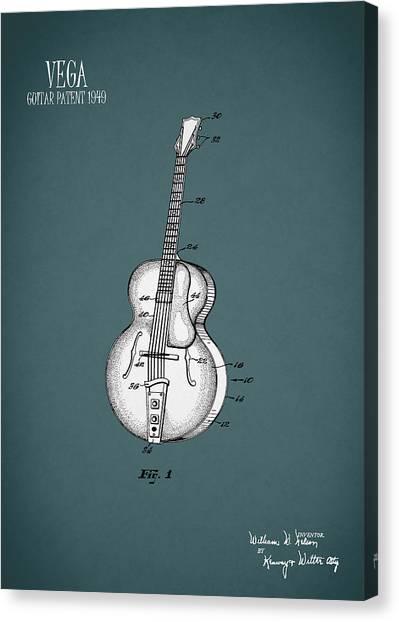 Guitars Canvas Print - Vega Guitar Patent 1949 by Mark Rogan