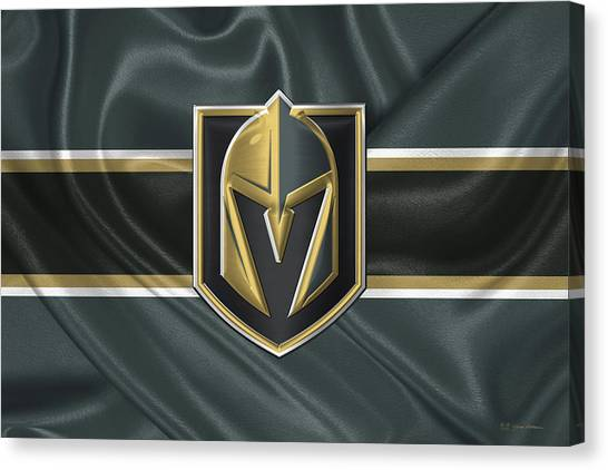 Vegas Golden Knights Canvas Print - Vegas Golden Knights - 3 D Badge Over Silk Flag by Serge Averbukh