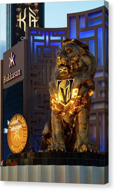 Vegas Golden Knights Canvas Print - Vegas Golden Knights - Mgm Grand Lion by James Marvin Phelps