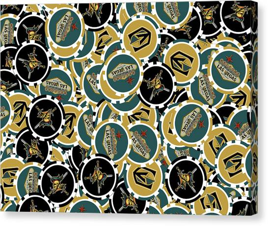 Vegas Golden Knights Canvas Print - Vegas Golden Knights Poker Chips Illustration by Ricky Barnard