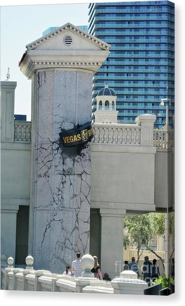 Vegas Golden Knights Canvas Print - Vegas Golden Knights Puck Las Vegas Strip by Jd Kline