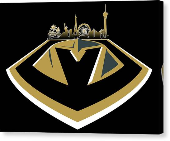 Vegas Golden Knights Canvas Print - Vegas Golden Knights With Skyline by Ricky Barnard