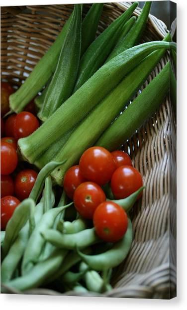 Vegetable Basket Canvas Print by Karen Fowler