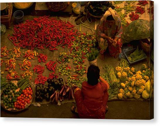Vegetable Market In Malaysia Canvas Print