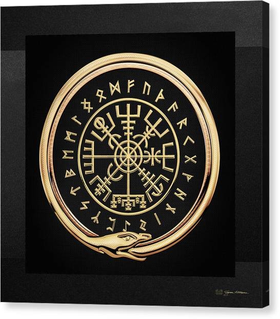 Vegvisir - A Magic Icelandic Viking Runic Compass - Gold On Black Canvas Print